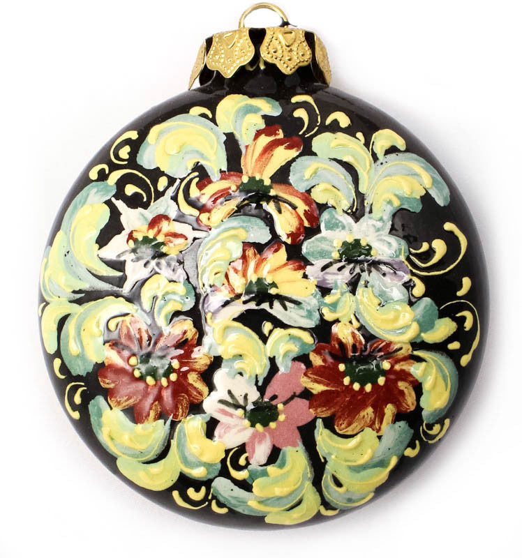 Wildflower Waltz Small Round Ceramic Ornament