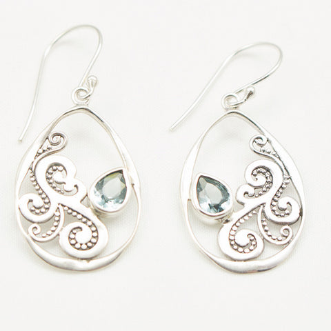 Sterling Silver Fancy Teardop Earrings with Blue Topaz