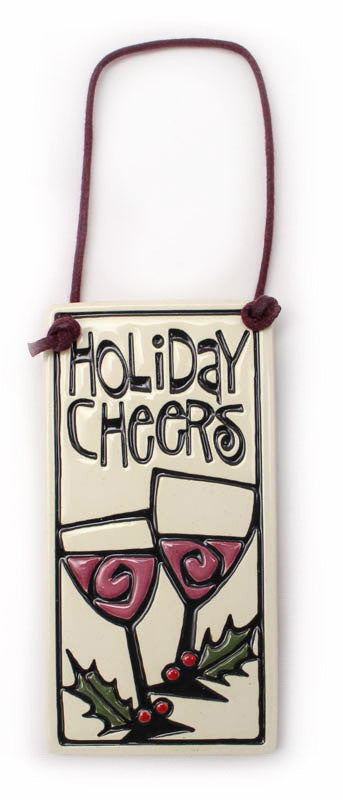 Holiday Cheers Wine Tag Ceramic Tile