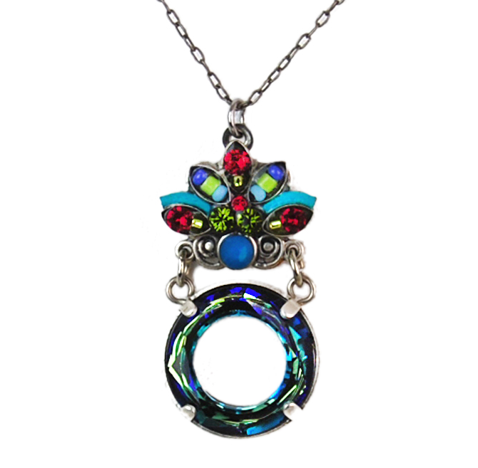 Multi Color Luna Swirl Circle Pendant by Firefly Jewelry