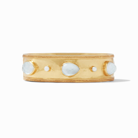 Cassis Statement Hinge Bangle Gold Iridescent Clear Crystal w/ Pearl Accents by Julie Vos