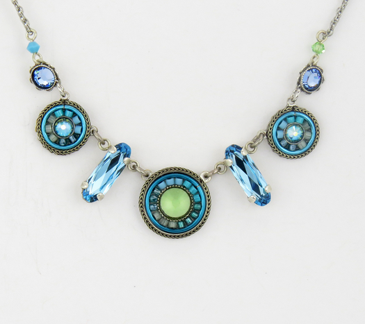 Light Blue La Dolce Vita Circles Necklace by Firefly Jewelry