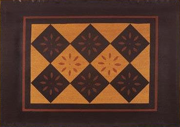 "Diamond with Starburst Floorcloth with Border in Antique - Size 24"" x 36"""