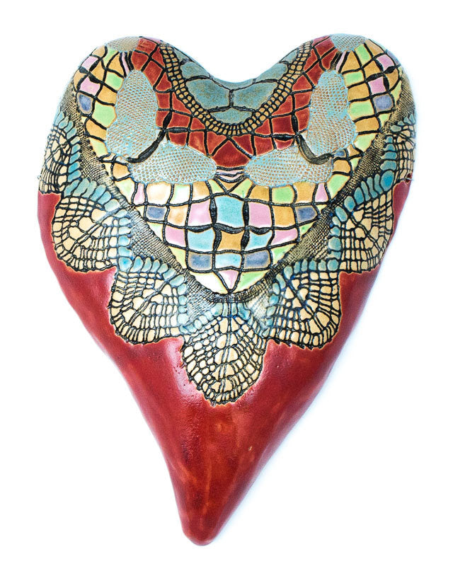 Butterfly Heart in Red Ceramic Wall Art - Large