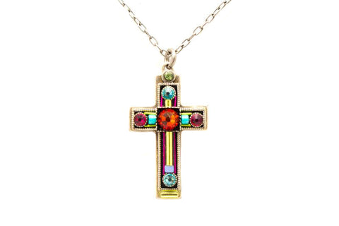 Multi Color Medium Cross Necklace by Firefly Jewelry