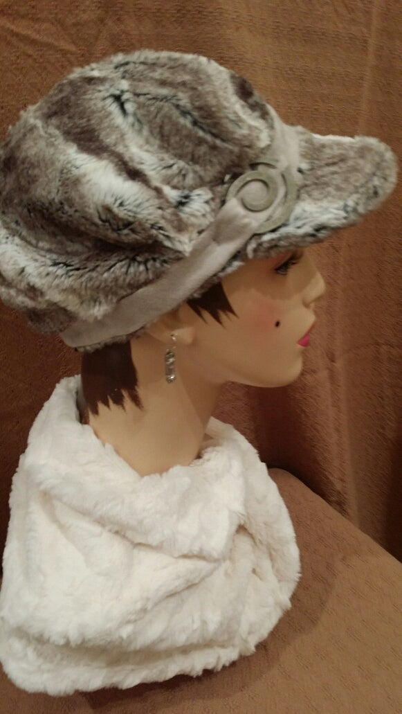 Birch Luxury Faux Fur Valerie Hat with Button Spiral Antique Brass on Silver Faux Suede Band: Size Medium