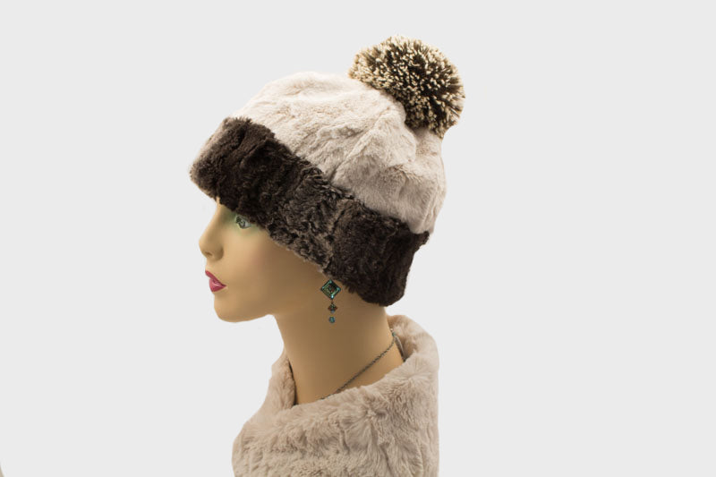 Chinchilla in Brown with Cuddly Chocolate Luxury Faux Fur Medium Beanie with PomPom