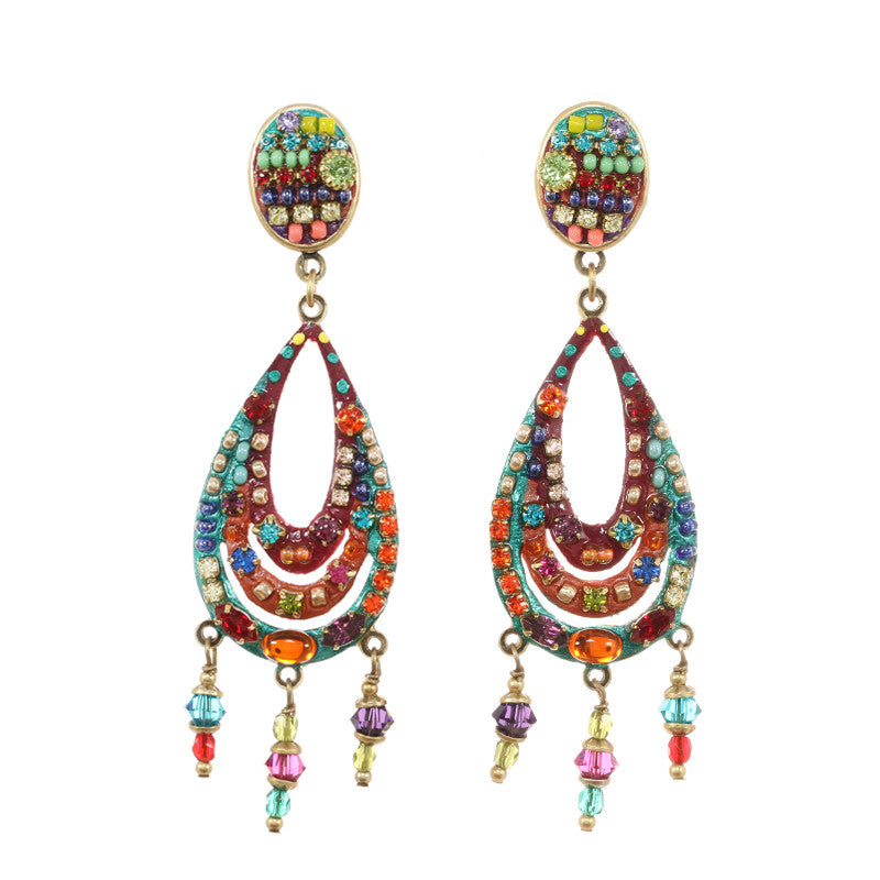 Multi Bright Large Tear Drop with Dangles Earrings by Michal Golan