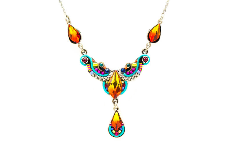 Multi Color Lily Organic Necklace by Firefly Jewelry