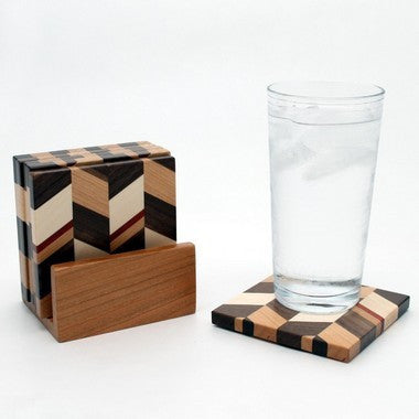 Set of 6 Checkered Coasters in Cherry with Holder