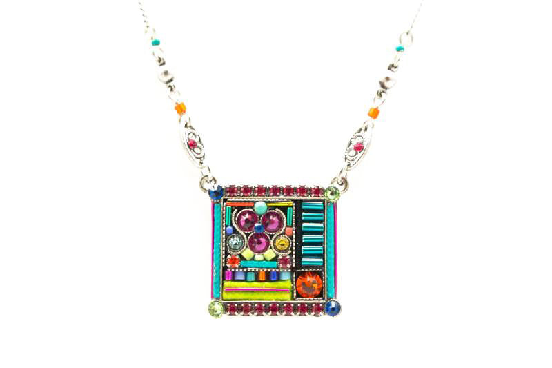 Multi Color Geometric Square Pendant Necklace by Firefly Jewelry