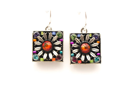 Multi Color Square Daisy Earrings by Firefly Jewelry