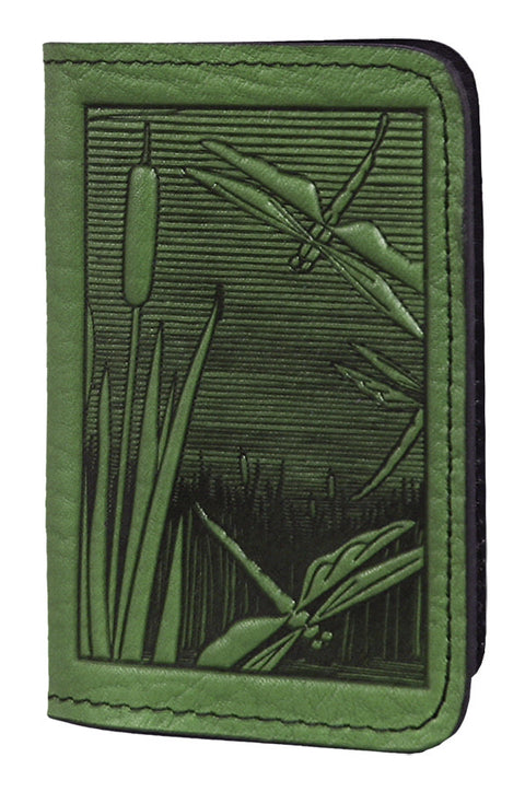 Leather Card Holder - Dragonfly Pond in Fern