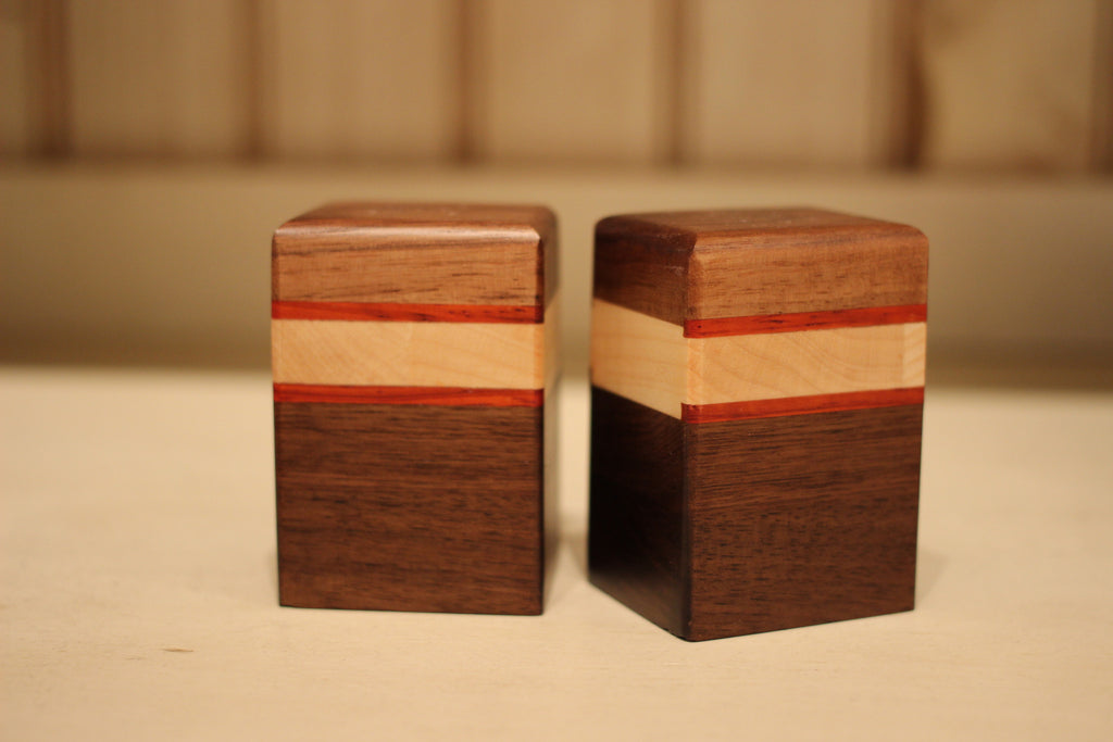 Striped Salt and Pepper Shakers in Walnut