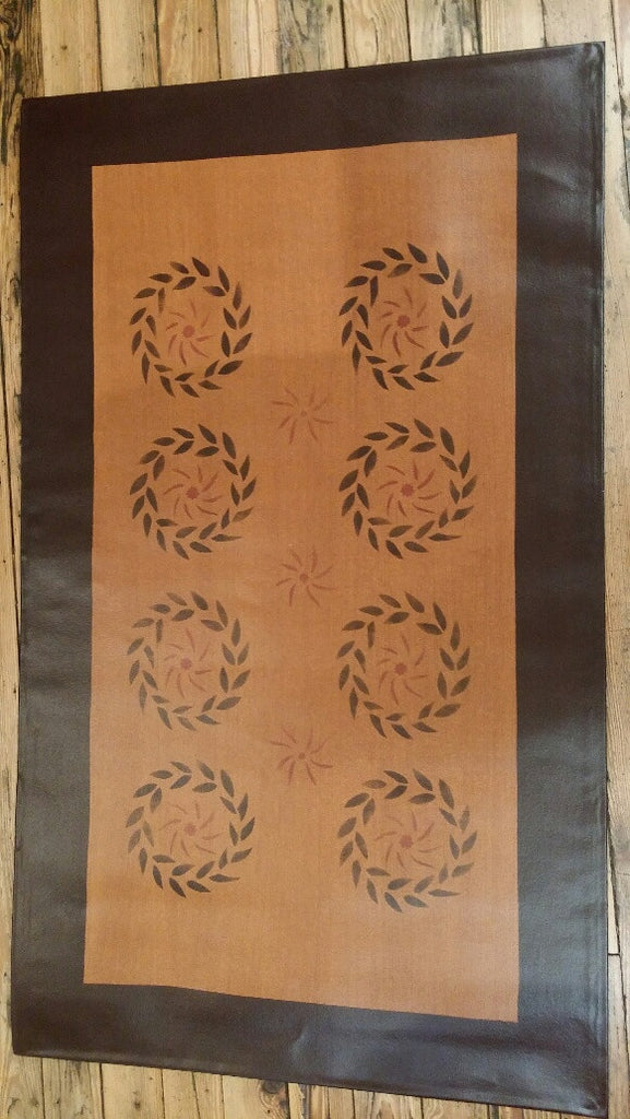 Joseph Lynde House Floorcloth with Border in Antique - Size 32'' x 52''