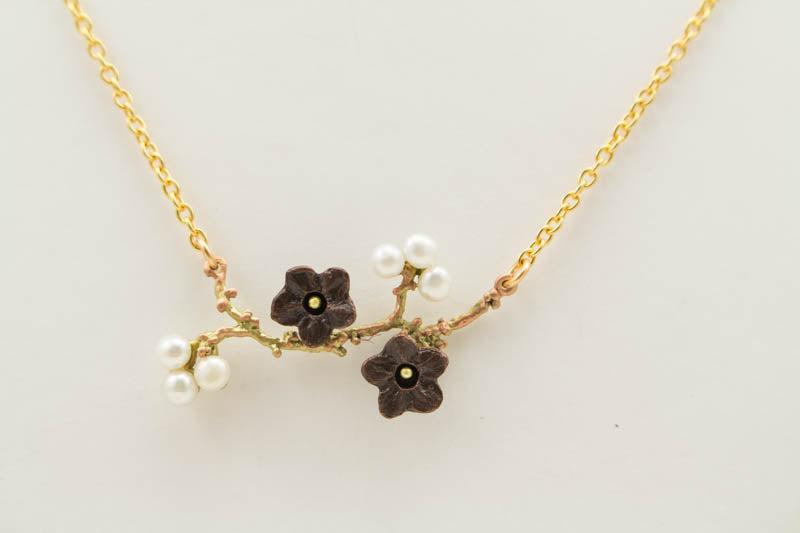 Ume Branch Pendent 16 inch Adjustable Necklace