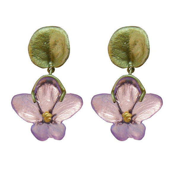 African Violet Dangle Post Earrings by Michael Michaud