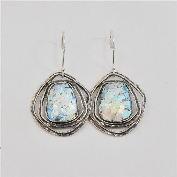 Ringed Rectangle Patina Roman Glass Earrings