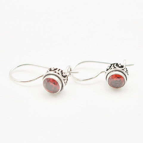 Sterling Silver Round Faceted Garnet Dangle with Side Detail Earrings