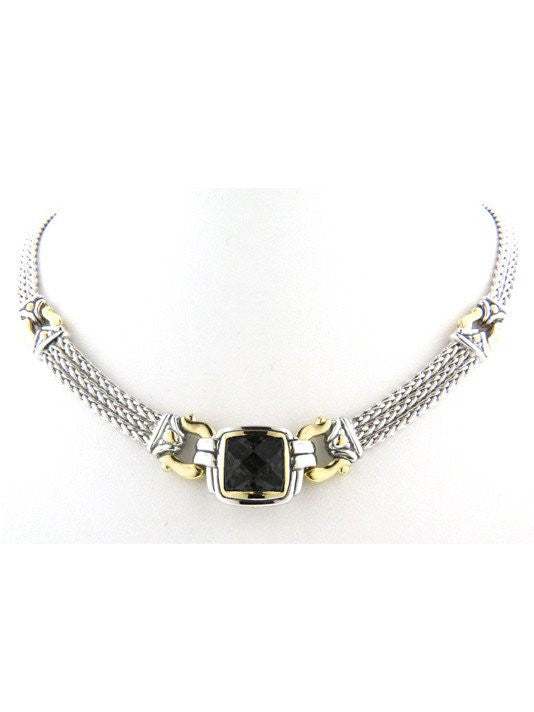 Anvil Square Triple Strand Black Necklace by John Medeiros