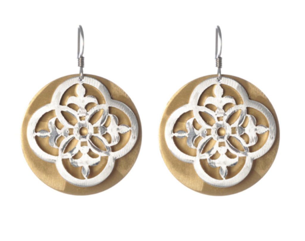 Mix Metal Open Scroll and Solid Disc Layered Earrings