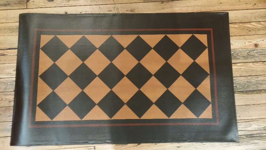 Diamond Floorcloth with Border in Antique - Size 32'' x 52''