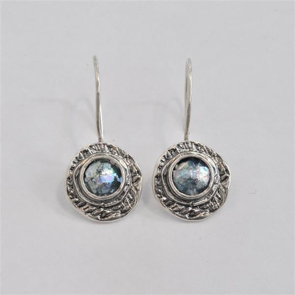 Wide Framed Round Dangle Patina Roman Glass Earrings