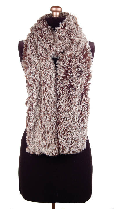 Silver Tipped Fox in Brown Luxury Faux Fur Scarf
