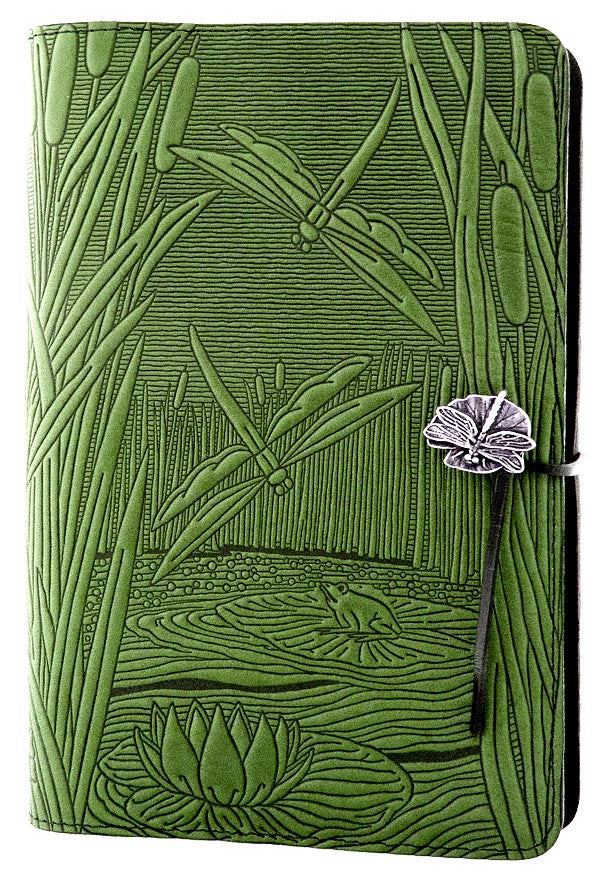 Large Leather Journal -  Dragonfly Pond in Fern