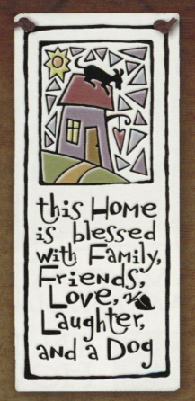Home Blessed with Dog Ceramic Tile