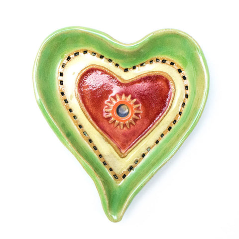 Heart Dish in Green Ceramic Wall Art