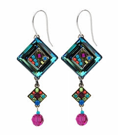 Multi Color La Dolce Vita Crystal Diagonal Earrings with Dangle by Firefly Jewelry