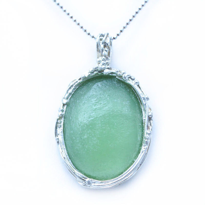 Delicate Framed Oval Washed Roman Glass Necklace