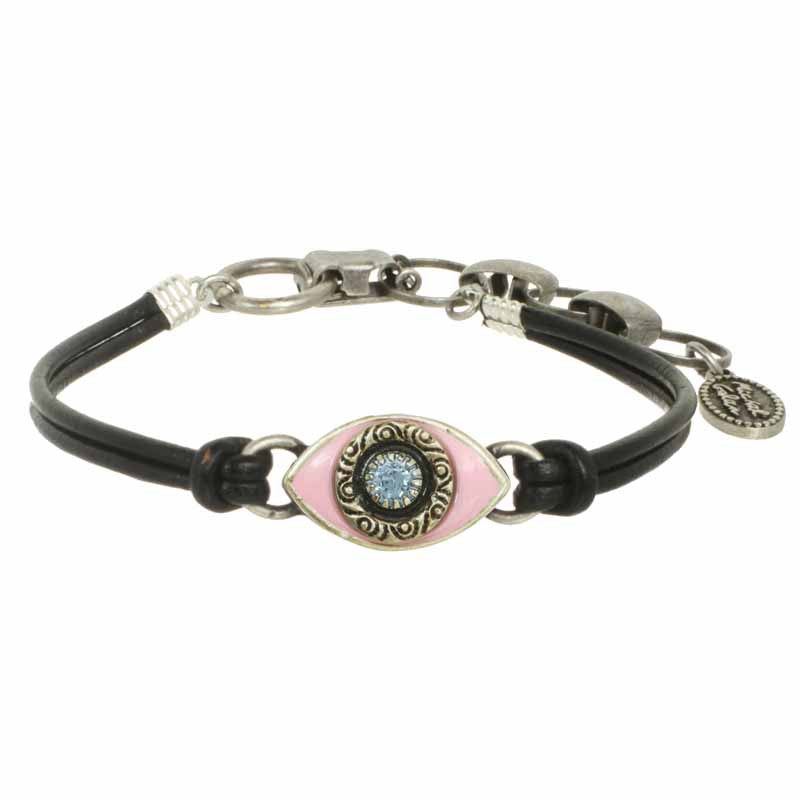 Pink and Blue Eye Leather Bracelet by Michal Golan