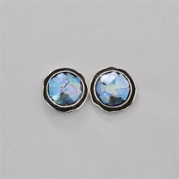 Petite Channel Framed Round Patina Roman Glass Post Earrings