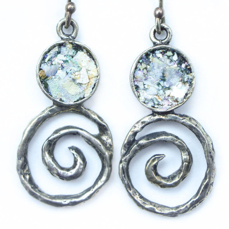 Small Circle with Spiral Roman Glass Earrings