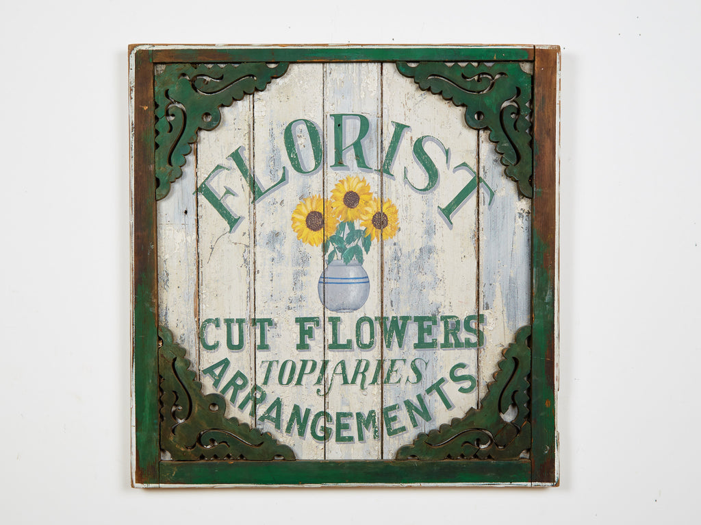 Florist Sign in Green Americana Art