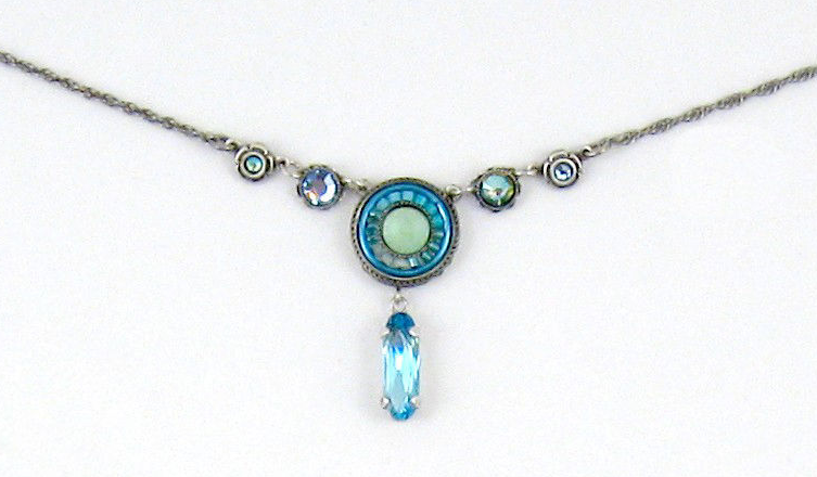 Light Blue La Dolce Vita Circle with Y Drop Necklace by Firefly Jewelry
