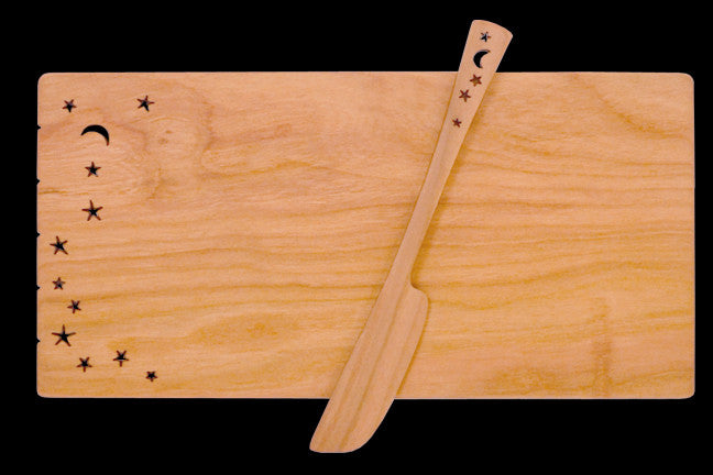 Cheese Board with Spreader with Celestial Design
