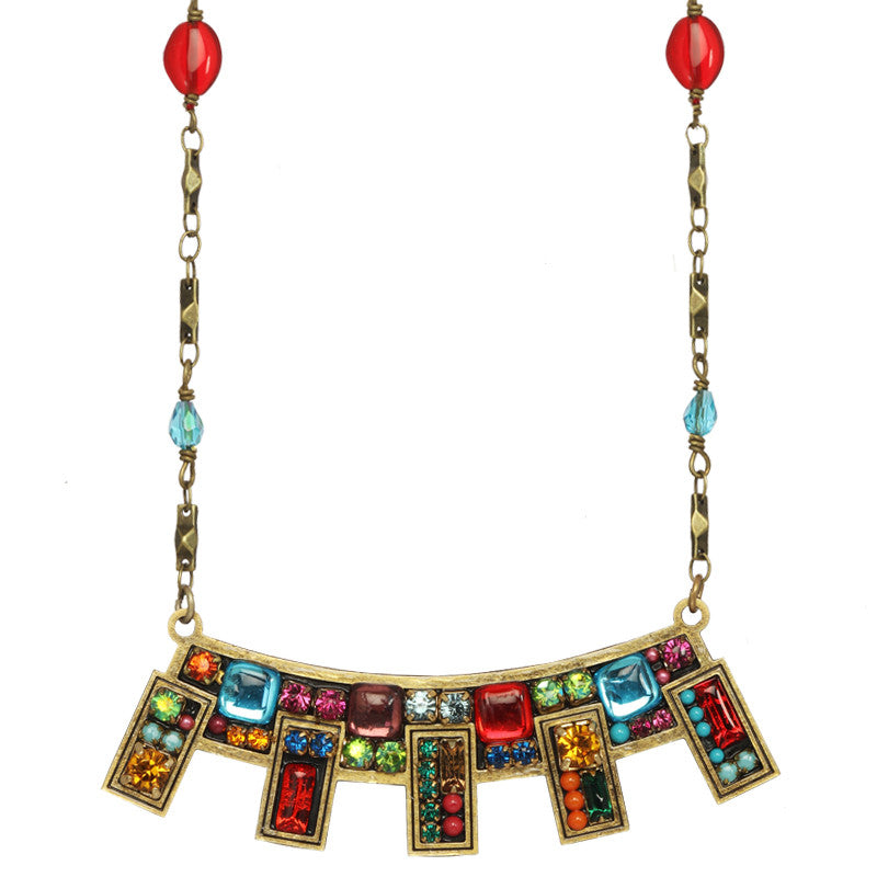 Multi Bright Abstract Beaded Chain Necklace by Michal Golan