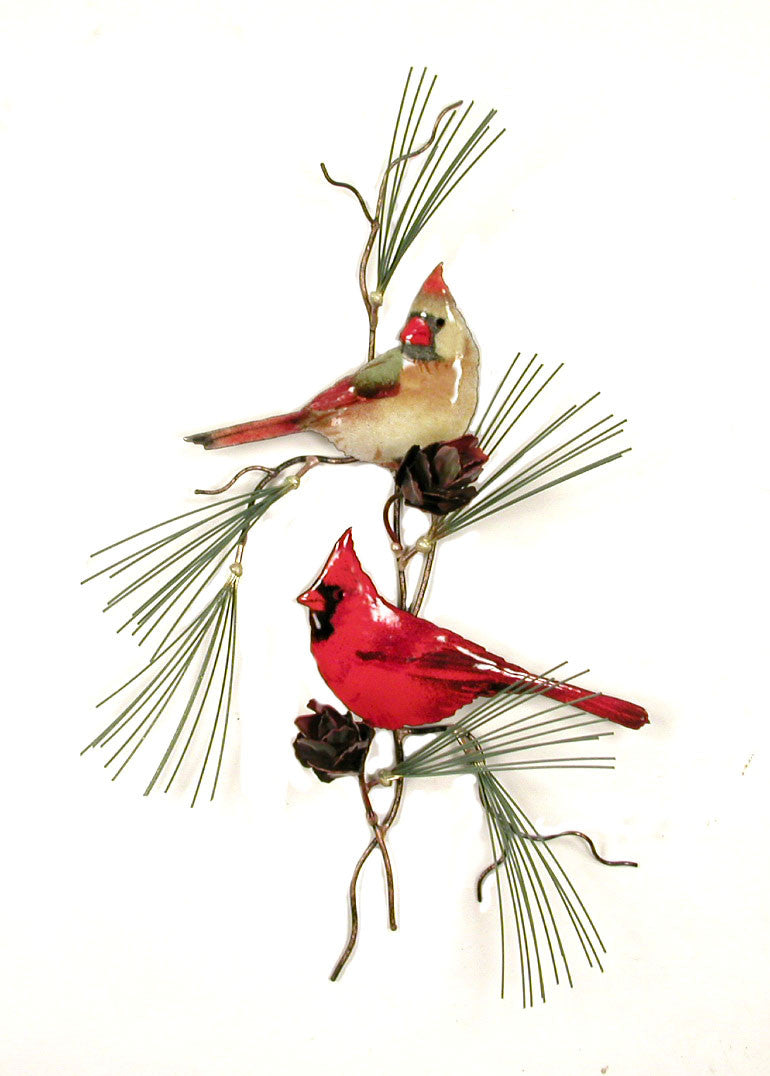 Cardinals (2) with Copper Pine Cones Wall Art by Bovano Cheshire