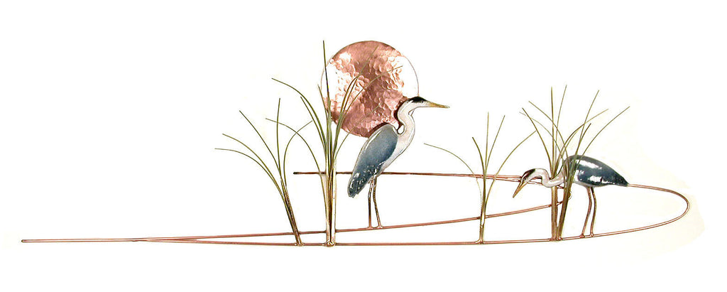 Great Blue Heron with Grasses Wall Art by Bovano Cheshire