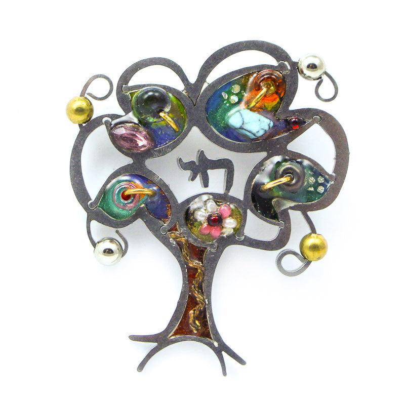 Shimmered Branches Tree Of Life with Chai Pin