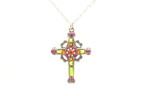 Lime Medium Ornate Cross by Firefly Jewelry