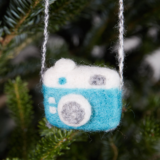 Camera in Blue Woolie Ornament