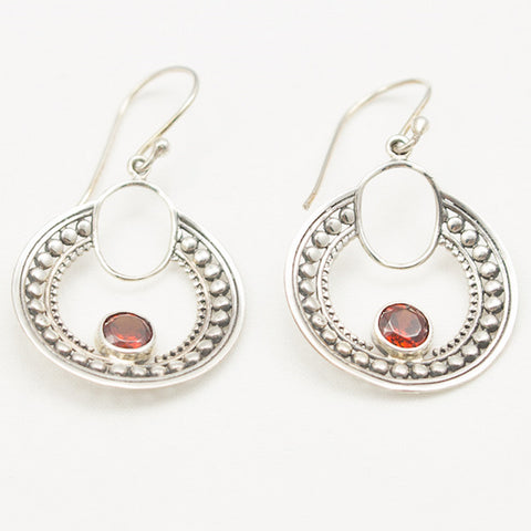 Sterling Silver Round Earrings with Faceted Garnet