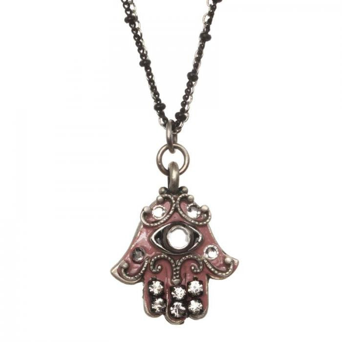 Double Strand Pink and Silver Small Hamsa Necklace by Michal Golan