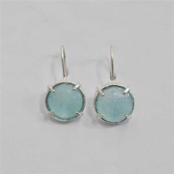Pronged Setting Round Washed Roman Glass Earrings