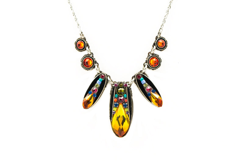 Multi Color Diva Three Drop Necklace by Firefly Jewelry