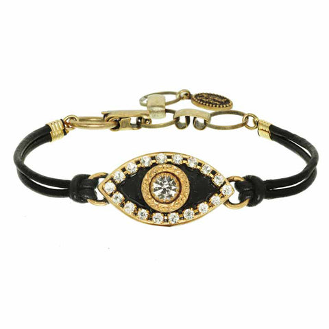 Gold and Black Eye Leather Bracelet by Michal Golan